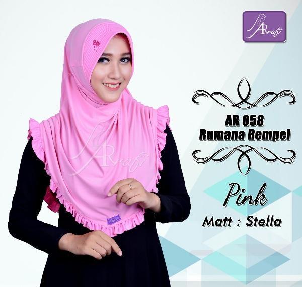 Jual Jilbab instan Arrafi Rumana Rempel warna Pink AR58p Best Seller Branded Hijab Kerudung Khimar murah