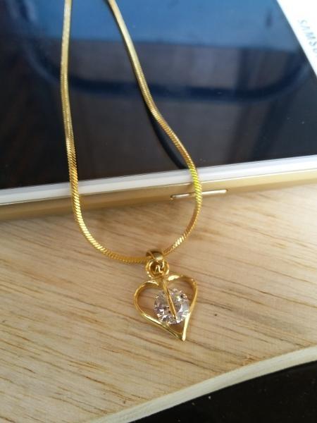 kalung wanita  lapis emas kalung love