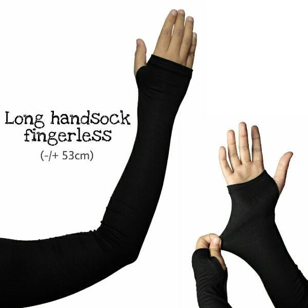 Long handsock fingerless arm sleeve manset tangan jempol selengan