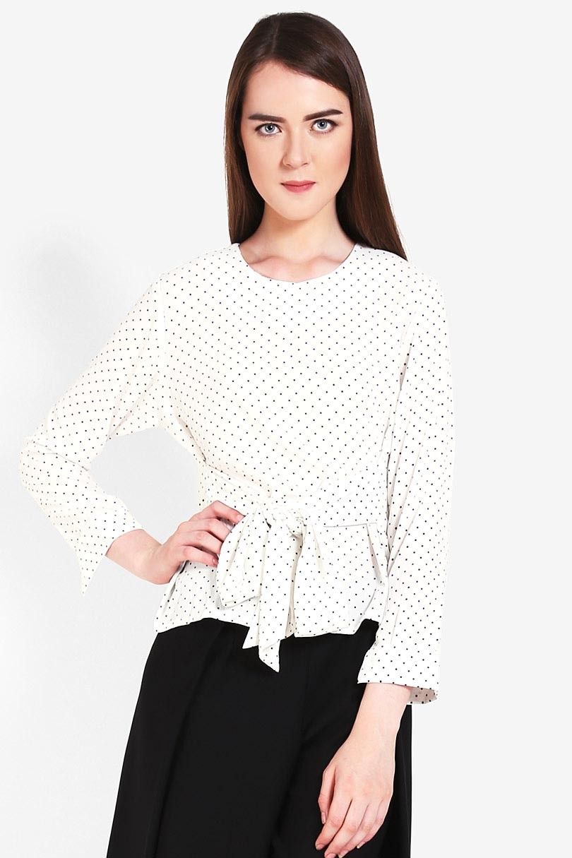 ViVo Fashion Olivia Polka Blouse White