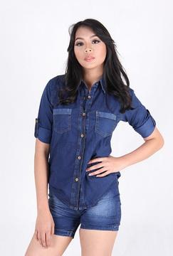 Kemeja Pendek Wanita Jeans 3/4 (3305)