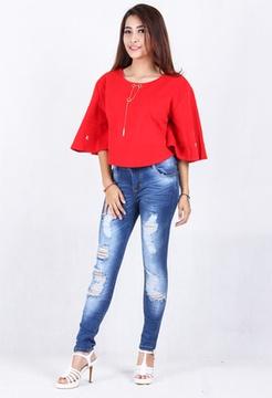 Ripped Jeans Robek Wanita (2170)