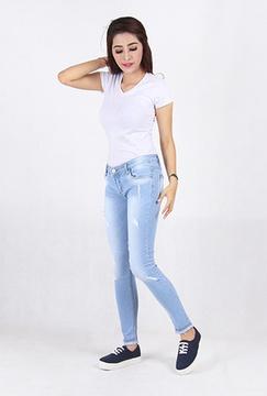 Ripped Skinny Jeans Wanita (2180)