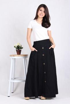 Rok Jeans Panjang Hitam (5003)