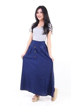 Rok Maxi Jeans Biru Dongker (5026)