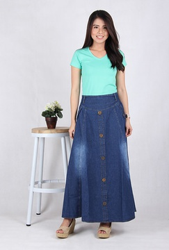 Rok Panjang Jeans Biru Jeans (5004)