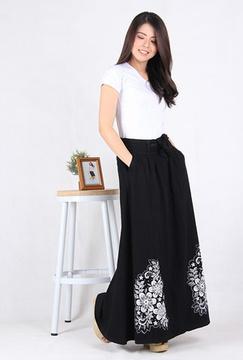 Rok Panjang Jeans Sablon Bunga (5001)