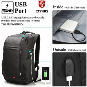 TAS DTBG Tas Ransel Leptop DTBG Anti Maling USB PoRt Charger Anti air - Hitam
