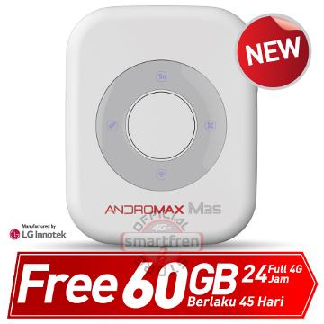 Mifi Andromax M3S-Mini WiFi-Modem wireless-Router-White-Smartfren Official Store-free Internet 60GB