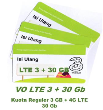 Voucher 3 LTE total Kuota 33 GB ( isi 10 Pcs )