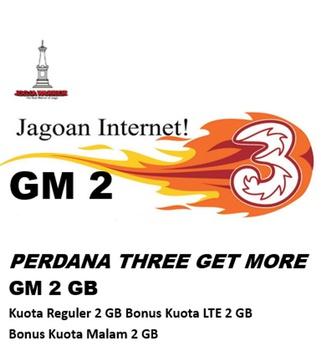 Perdana Tri get more GM 2 GB (paket isi 10)