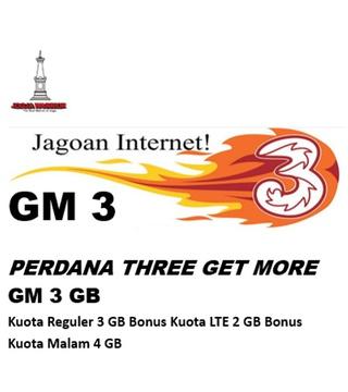 Perdana Tri get more GM 3 GB (paket isi 10)