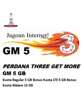 Perdana Tri get more GM 5 GB (paket isi 10)