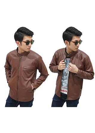 Jacket Leather Biker - Brown Size XL