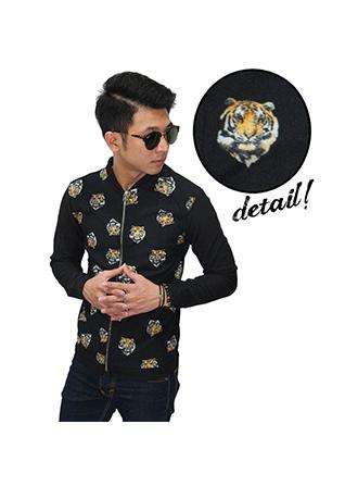 Jacket Printed Tiger Face Unisex - Black (Size L)