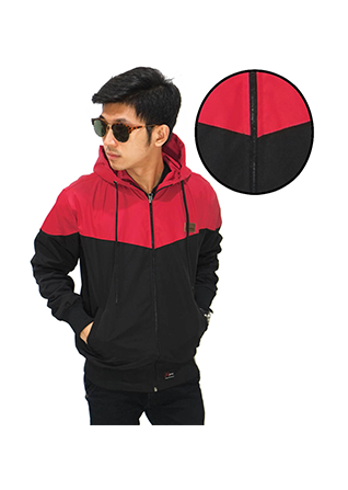 Jaket Parasut Windrunner - Red And Black (Size L)