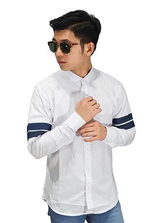Kemeja Arm Double Stripe - White (Size XL)