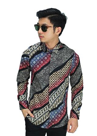 Kemeja Batik Elegant Gradasi - Maroon (Size L)