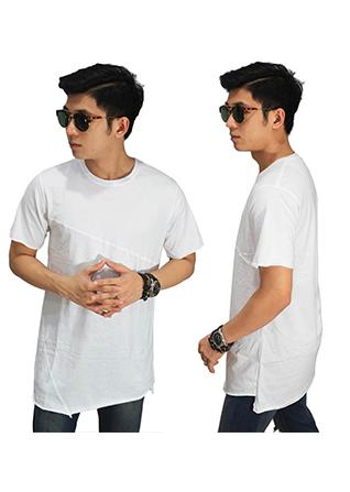 Longline Asymmetric T-Shirt - White (Size M)