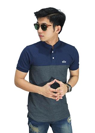 Polo Shirt Grandad Collar Navy Bottom - Grey (Size L)