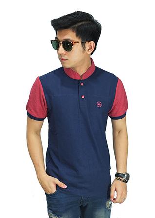 Polo Shirt Grandad Collar Navy Sleeve - Peach (Size M)